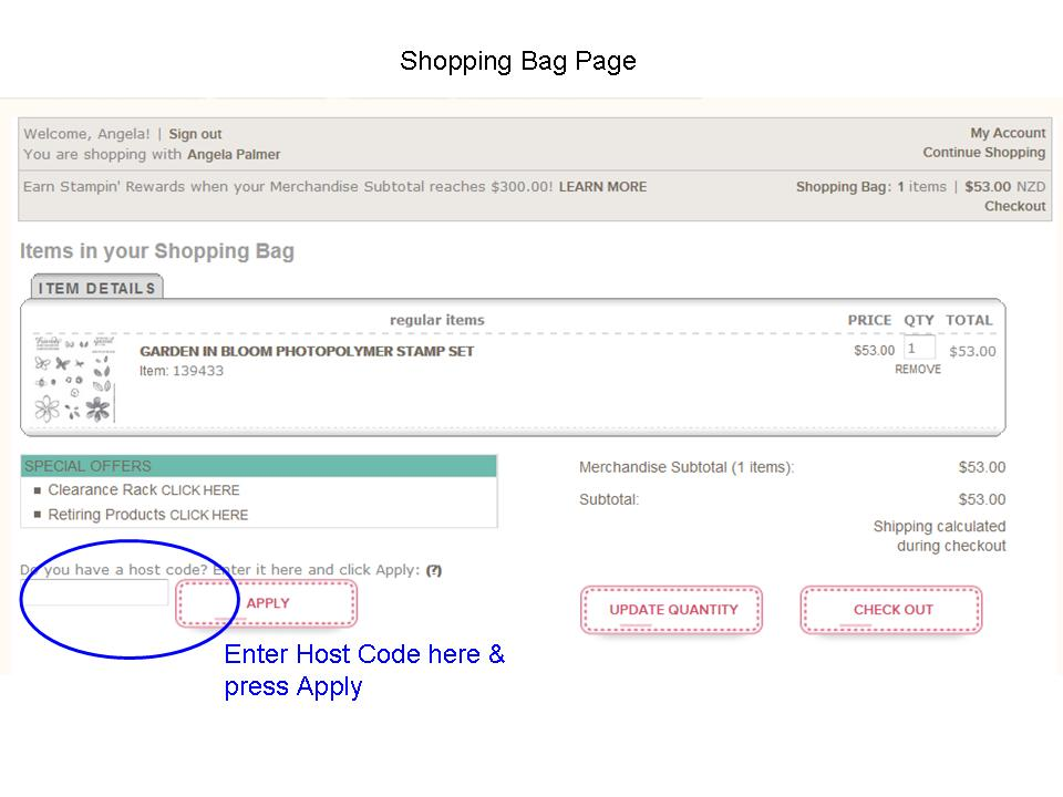 Entering Host Code Shopping Bag Page with press apply