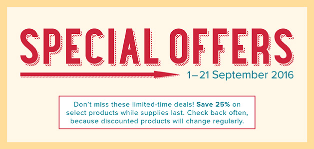 Speical Offers 1 to 21st September