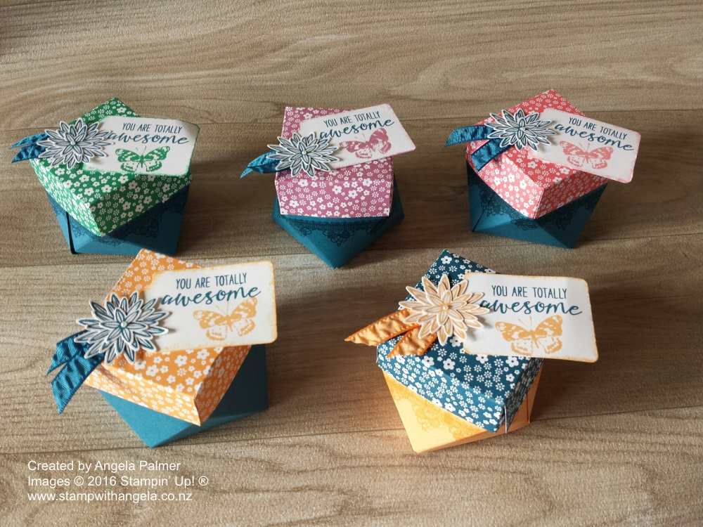 Diamond Shaped Boxes, Gift Box Punch Board, Coordination, Grateful Bunch