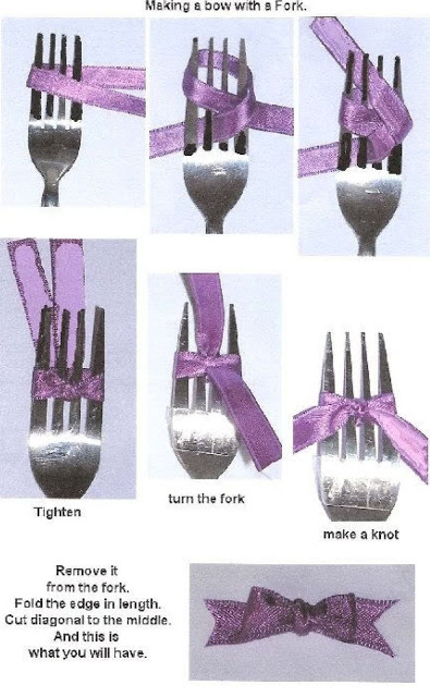 Tying a bow with a fork