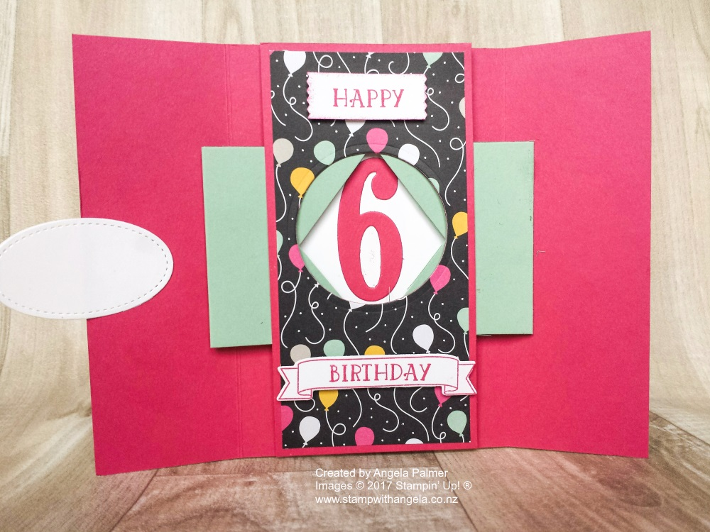 Balloons Gate Fold Peek-a-boo Card inside