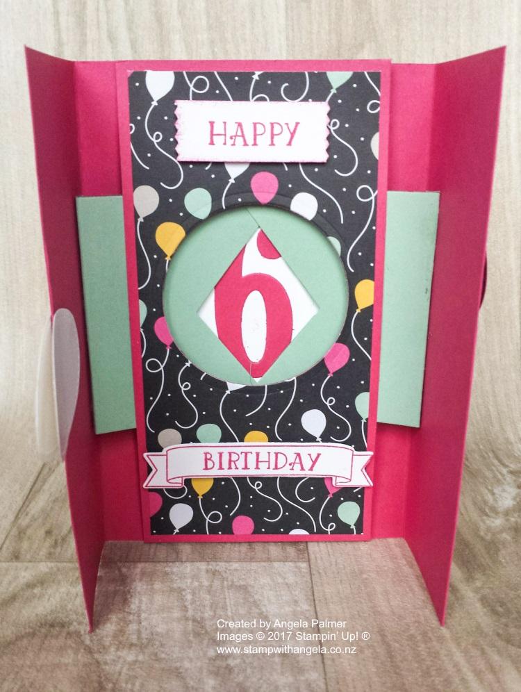 Balloons Gate Fold Shutter Card inside