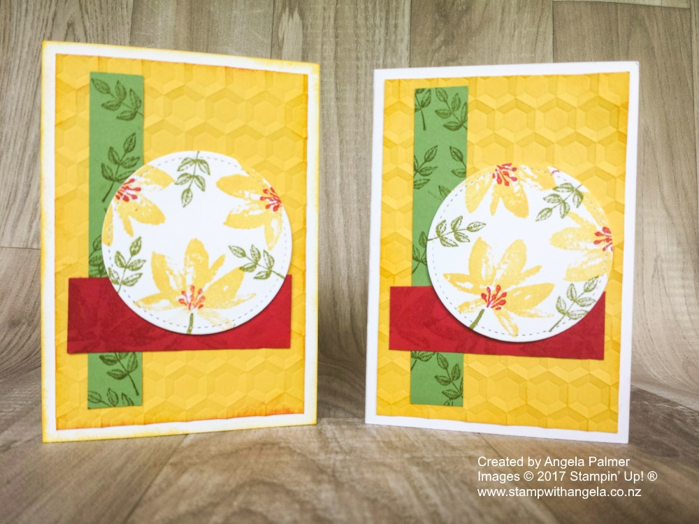 Two similar cards featuring the Hexagon dynamic embossing folder