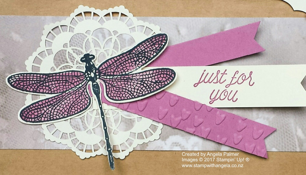 March Extravaganza Altered Gift Bag with Dragonfly - close up