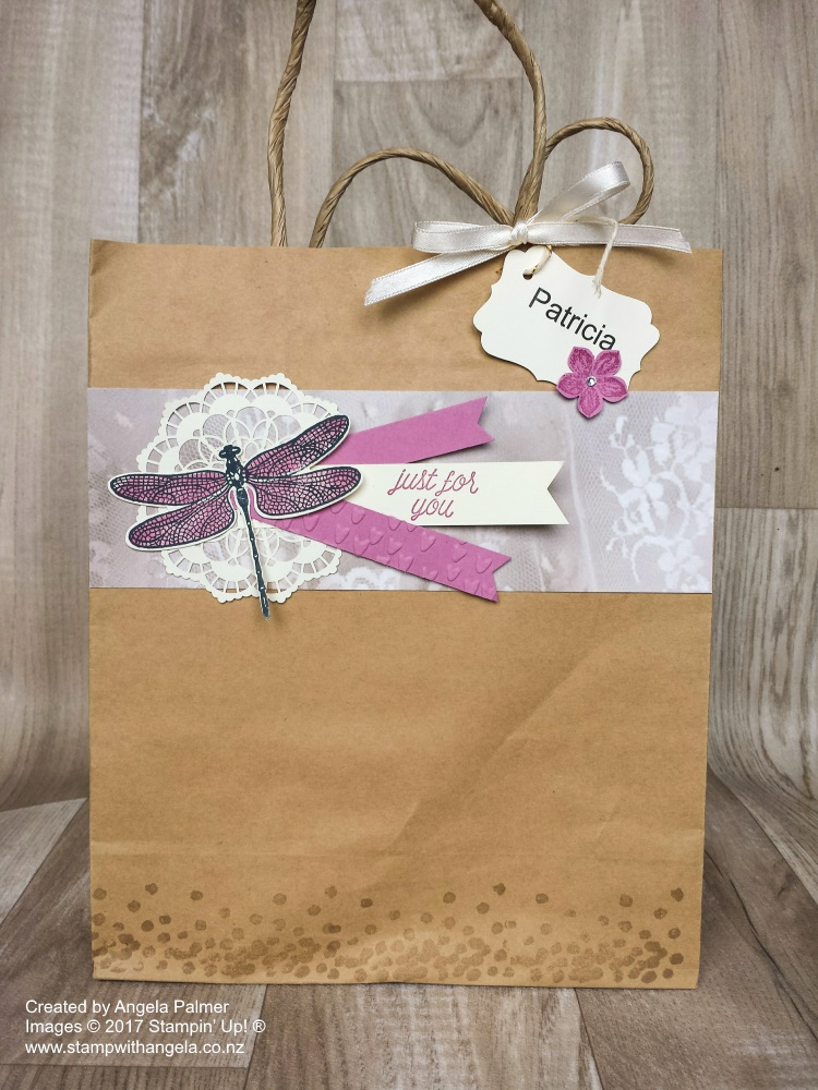 March Extravaganza Altered Gift Bag with Dragonfly