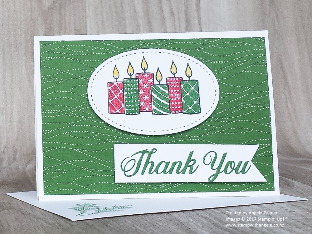 Merry Patterns Thank You Note Card in Garden Green