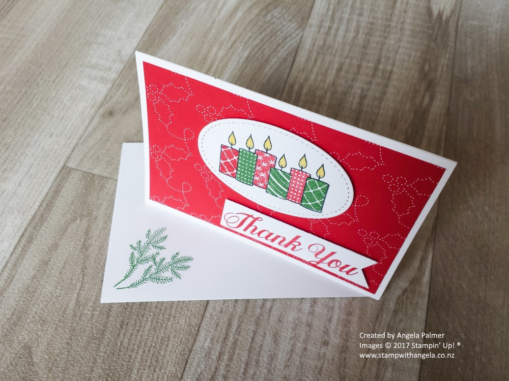 Merry Patterns Thank You Note Card Down View