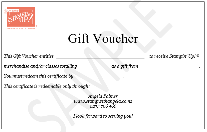 here is a sample of a card that comes with the gift voucher