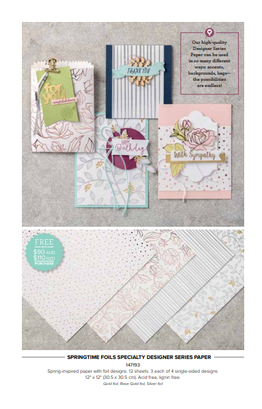 Sale-A-Bration Second Release Springtime Foils Specialty Designer Series Paper