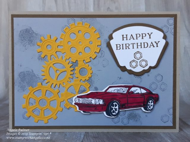 Geared Up Garage card with bordered sentiment Happy Birthday